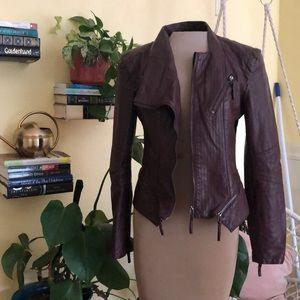 Blank NYC burgundy vegan leather jacket